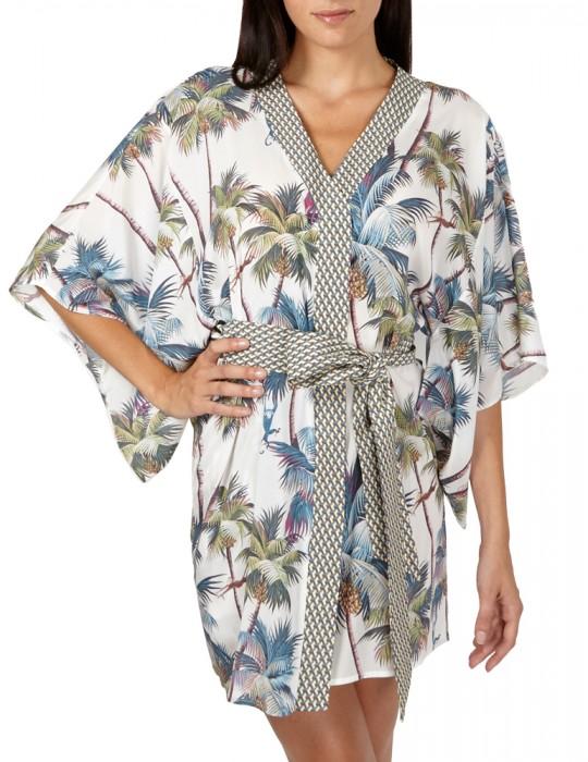 Abito Kimono in pura Seta con Fusciacca in vita e stampa Palm Springs