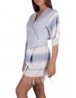Tuta Kimono in tessuto misto lino tinto in filo