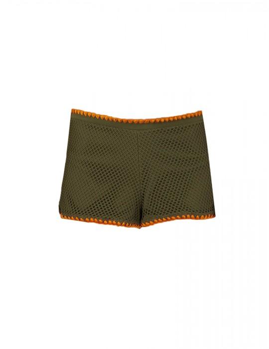 Shorts in rete ricamo ventaglio