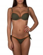 Bikini Balconcino con ferretto in tessuto rete e ricamo Ventaglio a contrasto