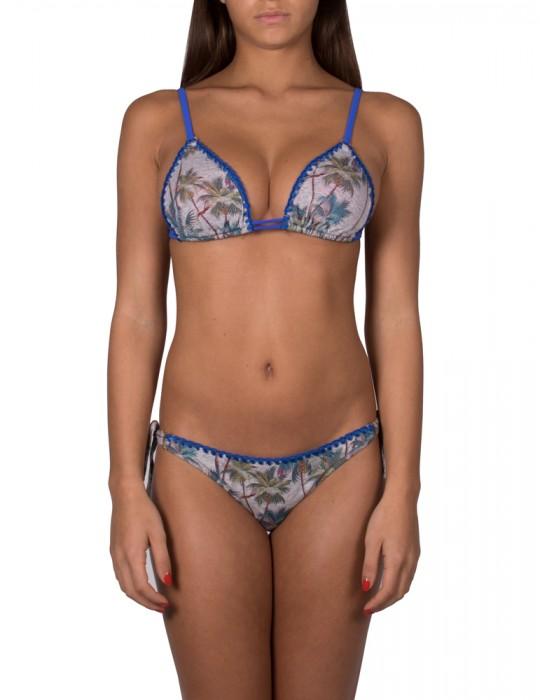 Bikini a triangolo scorrevole allacciatura a reggiseno stampa Palm Springs