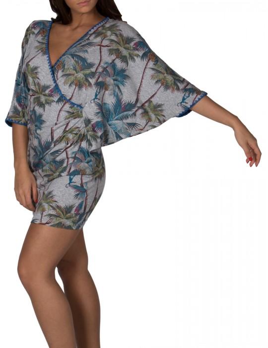 Abito Kimono ad incrocio con maniche a Farfalla stampa Palm Springs