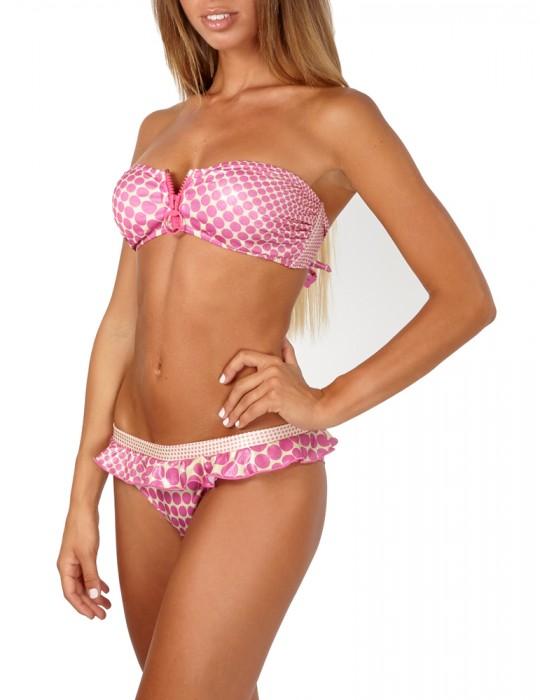 Bikini a Fascia con Zip Centrale stampa Pois Optical