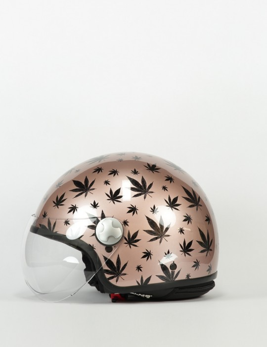 Casco Cromato stampa Marijuana by Helmo-Milano